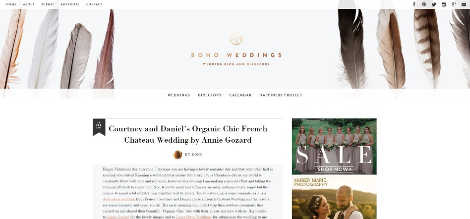 publication boho weddings un mariage intime à Bordeaux