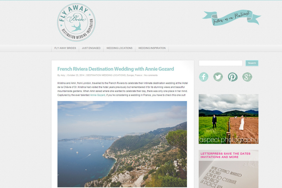 Destination wedding in French Riviera - Kristina & Amir - Publication sur le blog Fly Away Bride d
